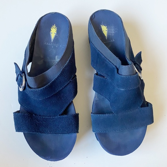 Volatile Navy Blue Leather Strappy Sandals